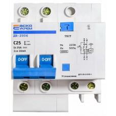 Диференційний вимикач ДВ-2006 2p 25А 30мА АСКО
