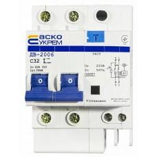 Диференційний вимикач ДВ-2006 2p 32А 30мА АСКО