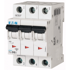Автоматичний вимикач  PL6-C40/3 40А, крива відключення С, 3 полюси Eaton